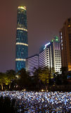 Night scene of Guangzhou City. Night scene of the Guangzhou International Finance Center and other office buildings and decorative lights in Zhujiang New Town Royalty Free Stock Photo