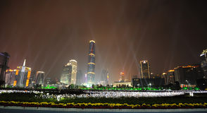 Night scene in guangzhou Zhujiang New Town. The Guangzhou International Finance Center (GZIFC) is built along the central axis of the Pearl River New City CBD Stock Photography