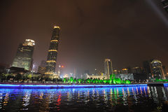 Night scene in guangzhou Zhujiang New Town. The Guangzhou International Finance Center (GZIFC) is built along the central axis of the Pearl River New City CBD Royalty Free Stock Images