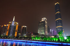 Night scene in guangzhou Zhujiang New Town. The Guangzhou International Finance Center (GZIFC) is built along the central axis of the Pearl River New City CBD Royalty Free Stock Photo