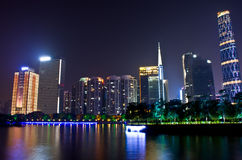 Night scene in guangzhou Zhujiang New Town Royalty Free Stock Images