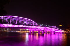 The night scene of Haizhu Bridge in Guangzhou Stock Images