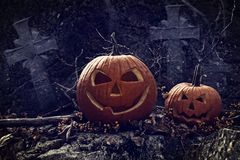 Night scene with Halloween pumpkins Royalty Free Stock Photography