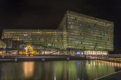 Night scene of Harpa Concert Hall in Reykjavik harbor, Iceland Royalty Free Stock Image