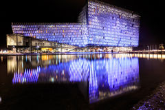 Night scene of Harpa Concert Hall in Reykjavik Royalty Free Stock Images