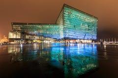 Night scene of Harpa Concert Hall in Reykjavik Stock Photos