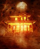 Haunted house. Night scene of a Haunted house,3d illustration for book cover Royalty Free Stock Images