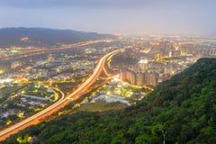 Night scene of highway in taipei Stock Image