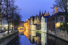 Night scene of historic medieval buildings along a canal in Brug Royalty Free Stock Image