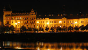 Night scene of the historic waterfront of the Vltava River in Prague during a storm. FullHD video 1920x1080 stock footage