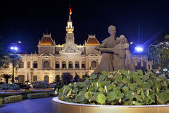 Night scene of the Ho Chi Minh City Hall.  Vietnam. Night scene of the Ho Chi Minh City Hall at Dong Khoi  in South Vietnam Royalty Free Stock Photo