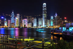 Night scene of Hong Kong. Victoria Harbor and Central district, Hong Kong during late evening royalty free stock image