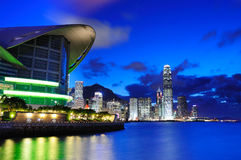 Night scene of Hong Kong. Convention and Exhibition Centre and Victoria Harbour Royalty Free Stock Photos