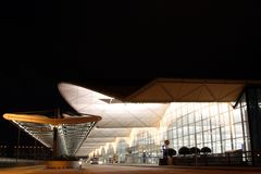Night scene of the Hong Kong Airport.  Royalty Free Stock Photo