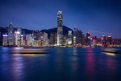 Night scene of Hong Kong Island. Hong Kong S.A.R., Hong Kong - 23 February, 2014: Night scene of Hong Kong Island, view from Tsim Sha Tsui Promenade, Kowloon Royalty Free Stock Image