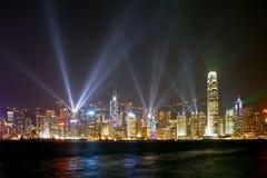 Night Scene of Hong Kong metropolis. With laser light performance Royalty Free Stock Image