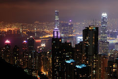 Night Scene of hong kong skyscrapers Royalty Free Stock Photo
