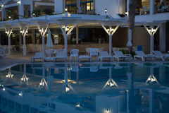 Night scene with hotel pool Stock Photography