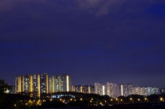 Night scene of housing building Stock Images
