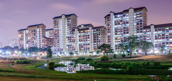 Night Scene of housing building. Night scenes at neighborhood park at Bishan Stock Images