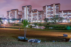 Night Scene of housing building. Night scenes at neighborhood park at Bishan Royalty Free Stock Photo