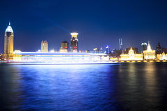 Night scene of huangpu river in shanghai Stock Image