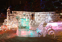 Night scene of ice sculpture Royalty Free Stock Photo