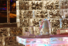 Night scene of ice sculpture Stock Photos