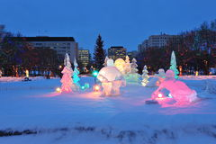 Night scene of ice sculpture royalty free stock photography