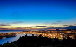 Night scene image of Dunedin city lights view from high stock photography
