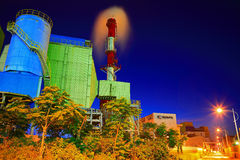 Night scene of a industrial area Royalty Free Stock Photography