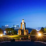 Night scene of Island of Tears. Island of Courage and Sorrow, Ostrov Slyoz. Minsk, Belarus - June 2, 2015: Night scene of Island of Tears, Island of Courage and Royalty Free Stock Images