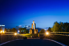 Night scene of Island of Tears or Island of. Courage and Sorrow, Ostrov Slyoz in Minsk, Belarus. This memorial dedicated to soldiers who died in Afghanistan in Stock Images