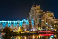 Night scene of Island of Tears In Minsk, Downtown Royalty Free Stock Photos