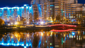 Night scene of Island of Tears In Minsk, Downtown Royalty Free Stock Photography