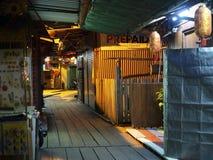 Night scene of jetty, Chew Jetty, Penang stock photo