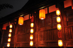 Night scene of a Jinli building Stock Images