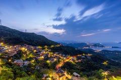 Night scene of Jioufen village, Taiwan royalty free stock photo