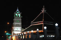 Night Scene of Kampung Kling Mosque in Melaka. Kampung Kling Mosque (Malay: Masjid Kampung Kling) (sometimes also spelt Kampung Keling Mosque) is an old mosque Royalty Free Stock Images