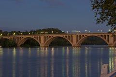 Night scene of Key Bridge in Washington DC, USA. Bridge with reflections at dusk Royalty Free Stock Images