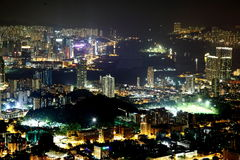 Night scene of Kowloon side in Hong Kong Stock Images