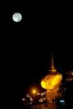 Night scene Kyaikhtiyo Pagoda in full Moon night. Royalty Free Stock Image