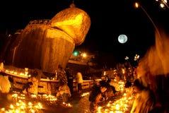 Night scene Kyaikhtiyo Pagoda in full Moon night. Stock Images