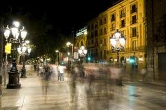 Night scene La Rambla Barcelona Stock Images
