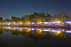 Night scene of lake reflection in Beijing Houhai. China royalty free stock image