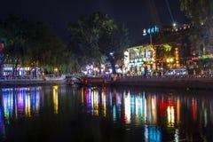 Night scene of lake reflection in Beijing Houhai royalty free stock images