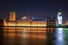 Night Scene of Big Ben and House of Parliament in London Royalty Free Stock Photography