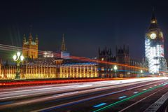Night Scene of Big Ben and House of Parliament in London Royalty Free Stock Photo