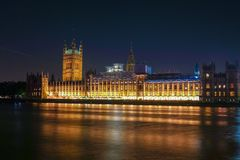 Night Scene of Big Ben and House of Parliament in London. Night scene with light trails on the Westminster bridge. Big Ben and House of Parliament in London, The Stock Images