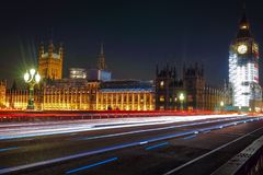 Night Scene of Big Ben and House of Parliament in London Stock Photos